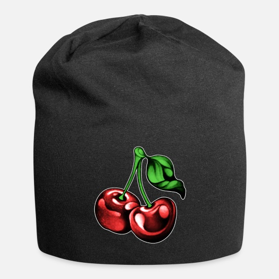 Cherry Caps - Cherries Cherry Fruit Fruits Summer Spring Funny - Beanie black