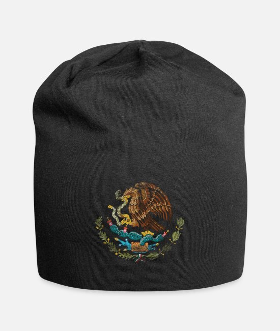 Travel Bug Caps & Hats - Mexican Coat of Arms Mexico Symbol - Beanie black
