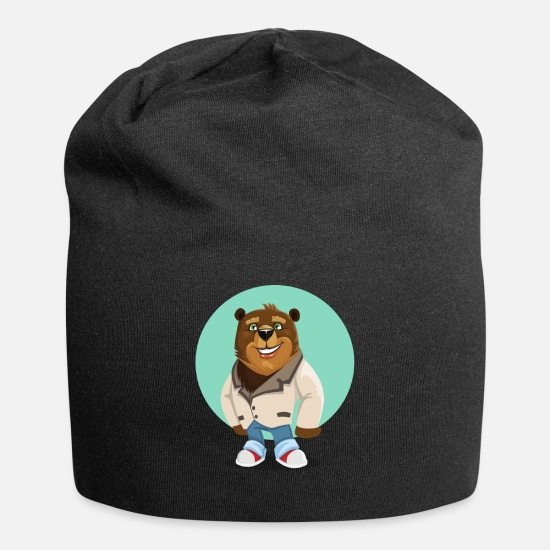 Cool Caps - Cool California Hippie Brown Bear Artwork - Beanie black