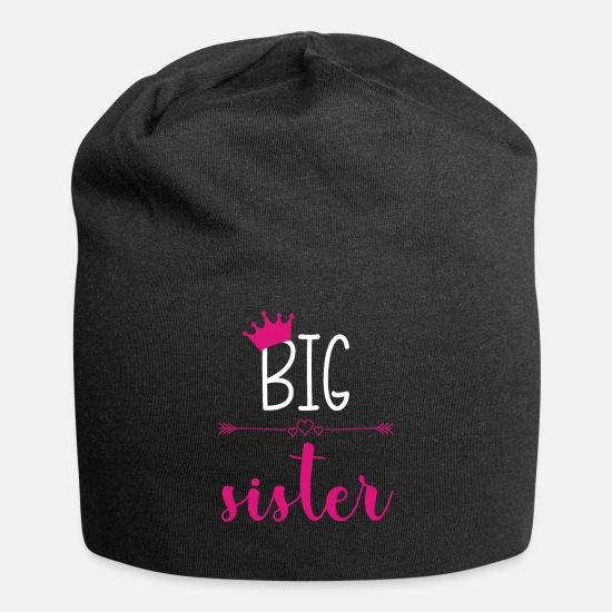 Sister Caps - Big Sister PINK Baby Announcement graphic - Beanie black