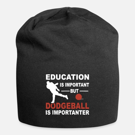 Important Caps - education is important but dogeball is importanter - Beanie black