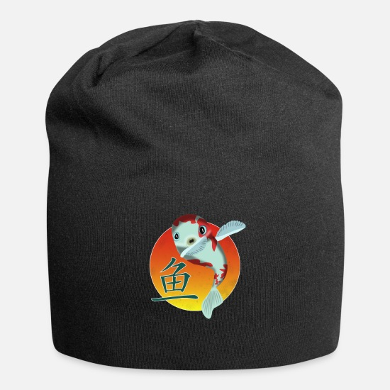 Chinese Caps - Dabbing Koi Carp and the Chinese Fish Symbol - Beanie black
