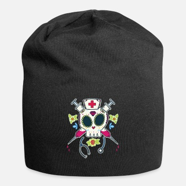 Nurse Sugar Skull Nurse Skeleton Funny Halloween Costume - Beanie