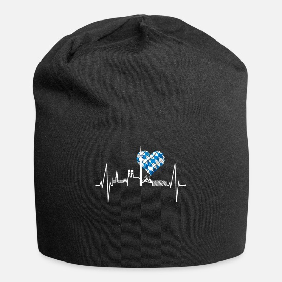 German Caps - Munich Heartbeat Skyline Oktoberfest Bavarian Gift - Beanie black