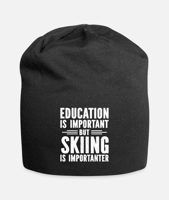 Mountains Caps & Hats - Education is important but skiing is importanter - Beanie black
