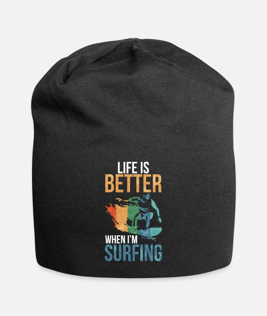 Birthday Caps - Life Is Better With Surfing - Beanie black