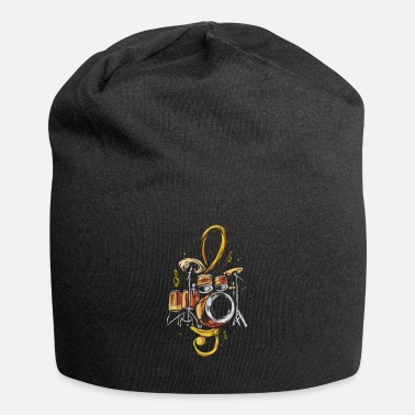 Noise Drummer Treble Clef Drums Music Band Drum Player - Beanie