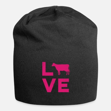 Beef LOVE Cows Vintage Dairy Farmer Typography - Beanie