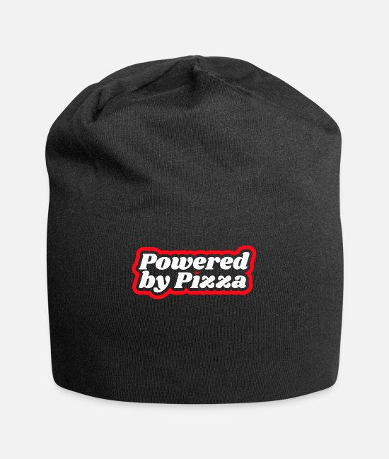Pizza Caps & Hats - Powered by Pizza Pizzeria Italian Food Fitness - Beanie black