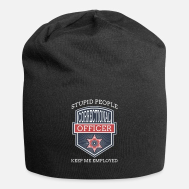 Grey Stupid People Corrections Officer Thin Silver Line - Beanie