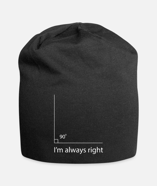 Hexagon Caps & Hats - Rectangle I'm Always Right Math - Beanie black