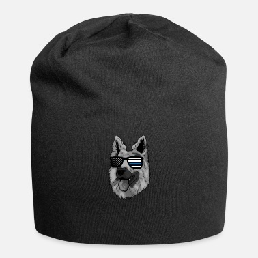 Law Enforcement K9 German Shepherd Thin Blue Line Cop US Flag - Beanie