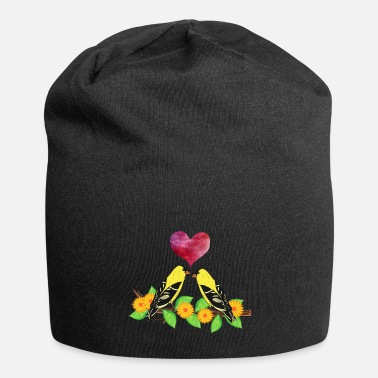 Pink Heart Goldfinch bird flower leaves red pink heart - Beanie