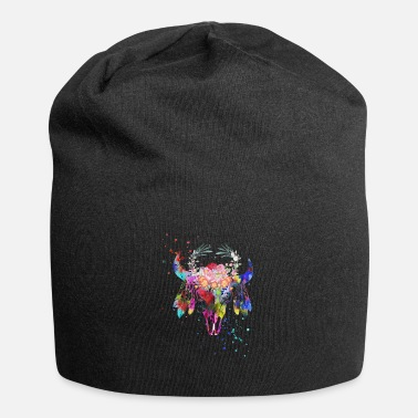 Native American Buffalo Native American Buffalo skull - Beanie