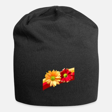 red yellow flowers bloom petals floral flowery - Beanie