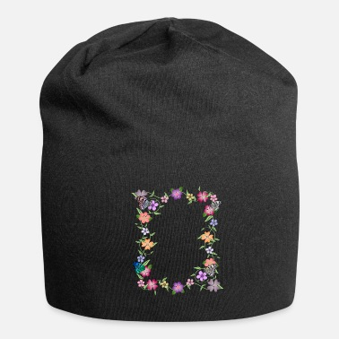 flowers tendril, floral, bloom, butterfly, insect - Beanie