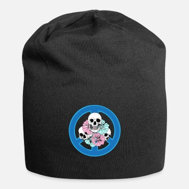 Spooky Hippie Skulls And Flowers Peace Sign Hippie Tattoo - Beanie