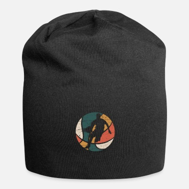 Womens Basketball Retro Basketball Player Dribbling Silhouette - Beanie