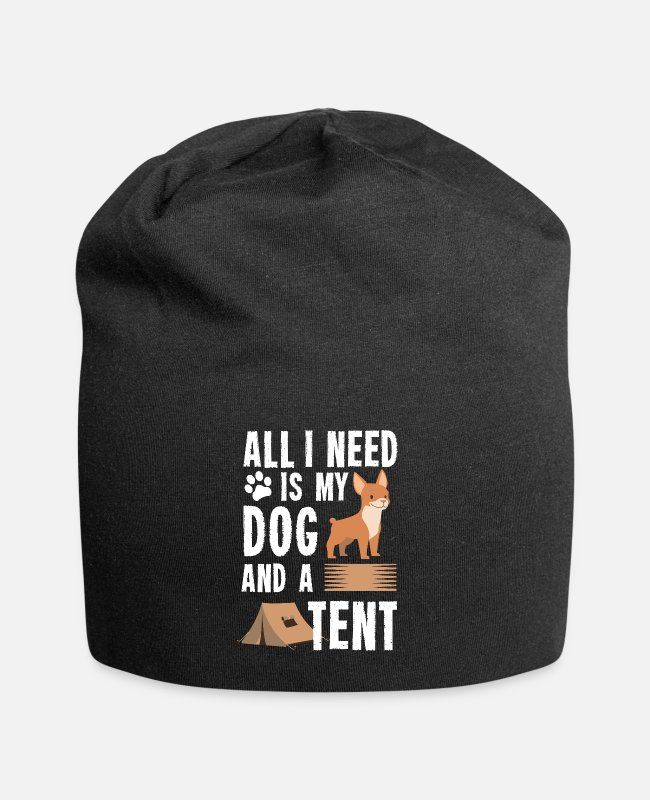 Adventure Caps & Hats - Camping Camper All I Need Is My Dog And Tent Gift - Beanie black