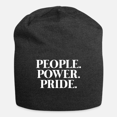 White Pride Text: People. Power. Pride. (white) - Beanie