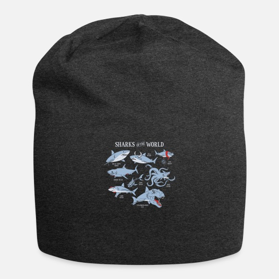 World's Best Caps - SHARKS OF THE WORLD - Beanie charcoal gray