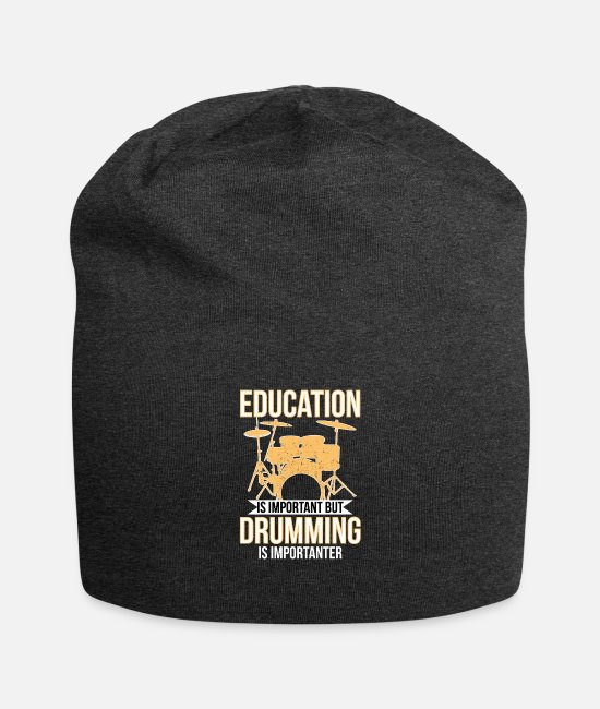 Important Caps & Hats - Drumming T-Shirts Education Is Important But Drumm - Beanie charcoal gray