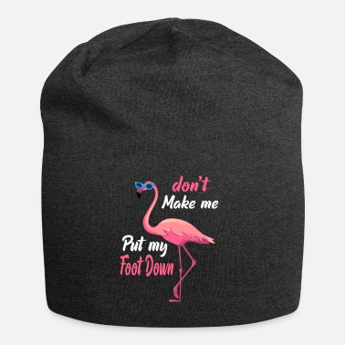 Down Don't Make Me Put My Foot Down Pink Flamingo Gifts - Beanie