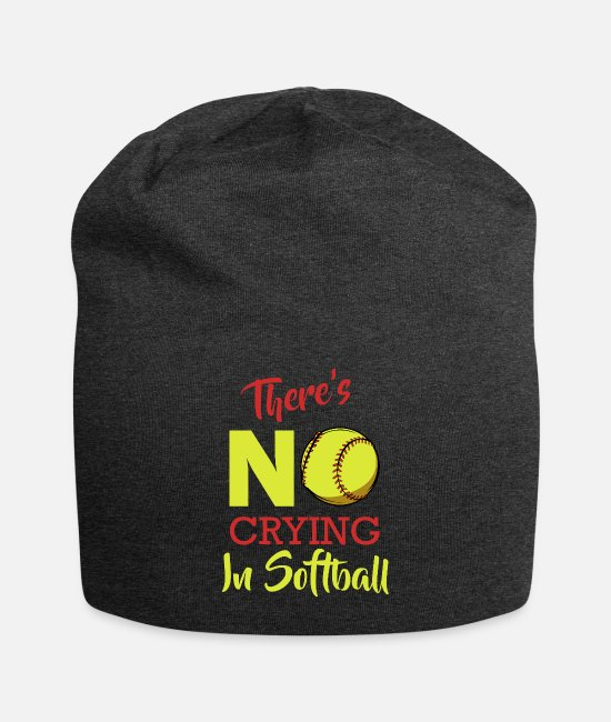 Catcher Caps & Hats - There's No Crying In Softball Baseball Coach Playe - Beanie charcoal gray