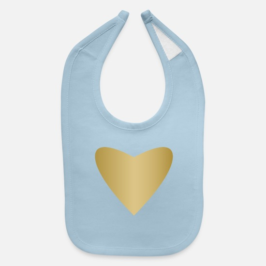 Love Baby Clothing - symbol of love golden heart heraldic sign art fun - Baby Bib light blue