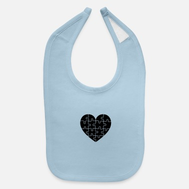 Puzzle Puzzled Heart - Baby Bib