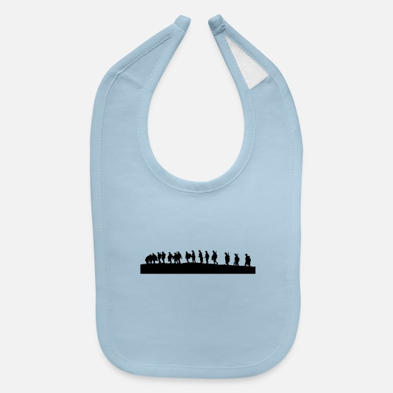Mountains Baby Clothing - Shadow of Group of people - Baby Bib light blue