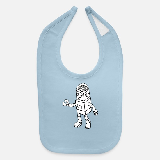 Droid Baby Clothing - Robot Brain - Baby Bib light blue