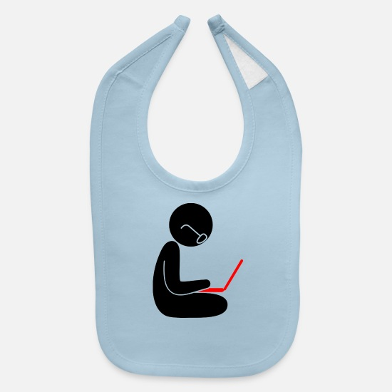 Techie Baby Clothing - A Programmer Using A Laptop - Baby Bib light blue