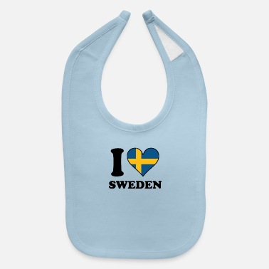 Sweden I Love Sweden Swedish Flag Heart - Baby Bib