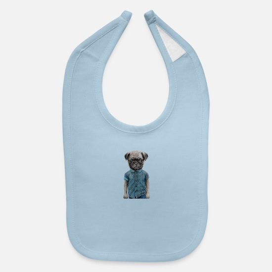 Pug Baby Clothing - hip teen pug - Baby Bib light blue