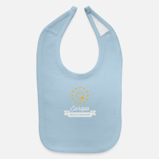 Europe Baby Clothing - Europe Needs More Heart! - Baby Bib light blue