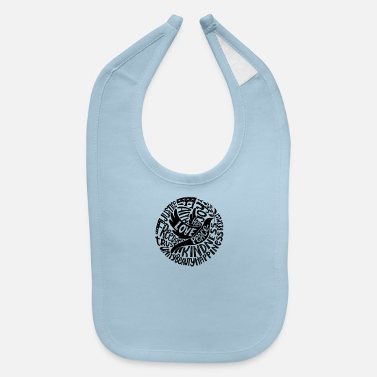 Awesome Baby Clothing - Dove of Peace Lettering Design in Black and White - Baby Bib light blue