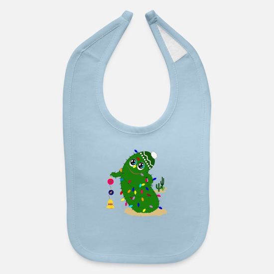 Christmas Baby Clothing - christmas cactus - Baby Bib light blue