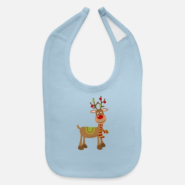 Reindeer CHRISTMAS REINDEER WITH ANTLER ORNAMENTS - Baby Bib