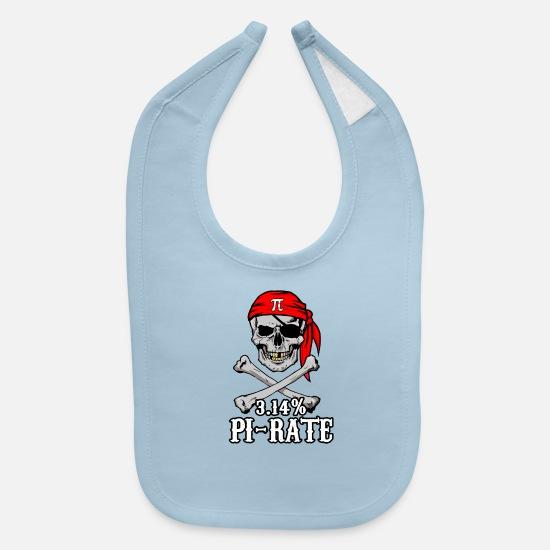 Pi Pirate 3 14% Pun Skull and Bones Baby Bib - black