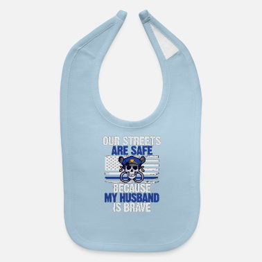 Skull Proud Wife Of A Police Officer - Baby Bib