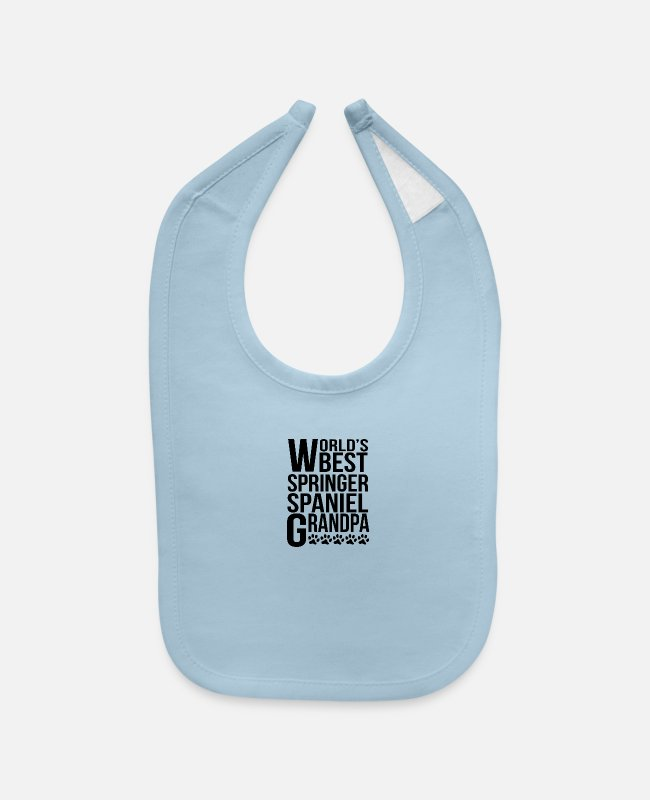 Grandpa Baby Bibs - World's Best Springer Spaniel Grandpa - Baby Bib light blue