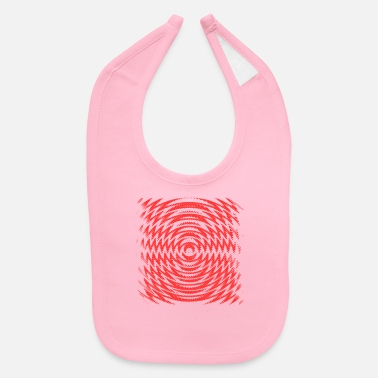 Neon Red Distorted Waves - Baby Bib