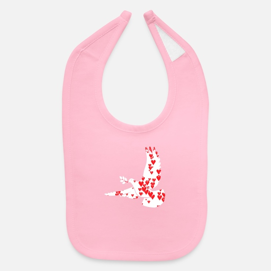 Peace Sign Baby Clothing - Peace Dove Gift - Baby Bib light pink