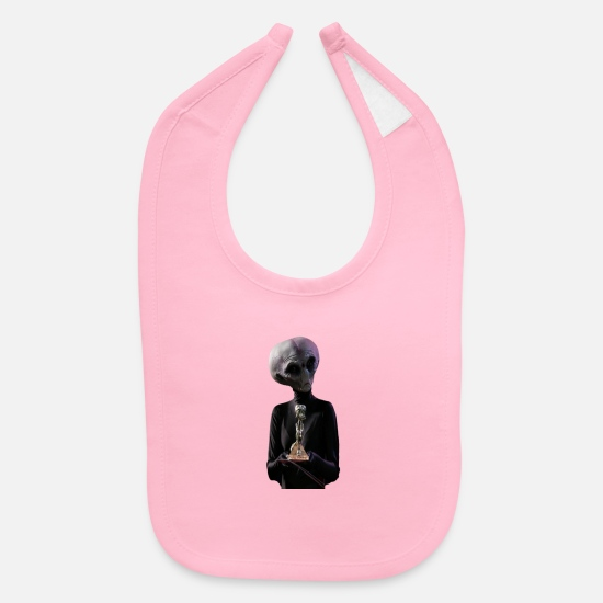 Alien Baby Clothing - Alien gets an Oscar - Baby Bib light pink