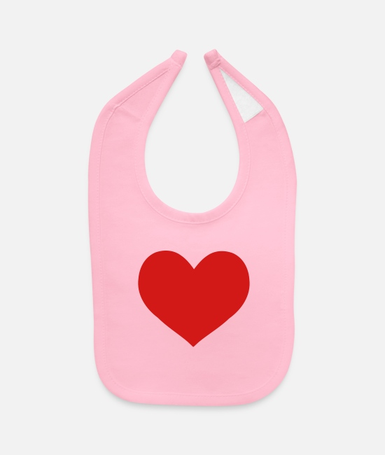 Red Baby Bibs - red heart - Baby Bib light pink