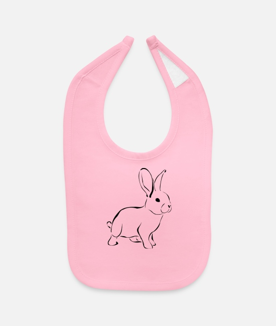 Easter Baby Bibs - White Rabbit - Baby Bib light pink