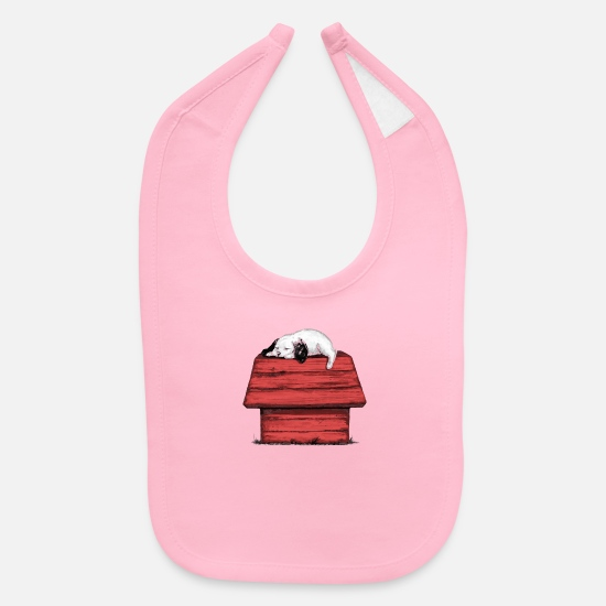 Beagle Baby Clothing - Sleeping Beagle - Baby Bib light pink