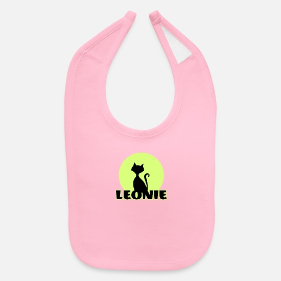 Birthday Baby Clothing - Leonie first name - Baby Bib light pink