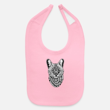 Serval cat - ink illustration. - Baby Bib